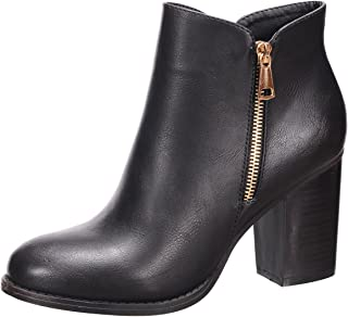 Nature Breeze Women's Closed Toe Zipper Chunky Stacked Block Heel Ankle Bootie