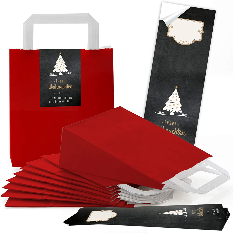 100 rote natur Kraftpapier Papiertüte Geschenk-Tasche mit Henkel Boden 18 18 18 x 8 x 22 cm  100 Aufkleber FROHE WEIHNACHTEN DANKE KUNDEN-Geschenk Verpackung BAUM schwarz weiß Gold Beutel Tütchen B07GWZVZ9R  | Deutschland Shops  15c260