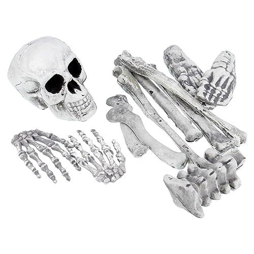 Halloween Haunters 12 Piece Bag of Plastic Skeleton Skull Bones Prop  Decoration - Scary Graveyard Human d1dbdca3bf0