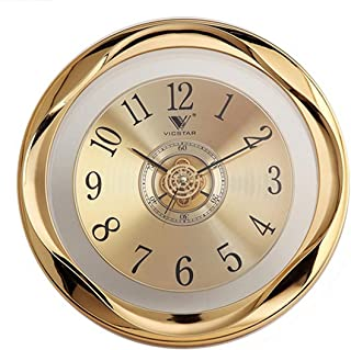 Wall Clock, Lingxuinfo 12 Inch Round Silent Wall Clock Decorative, Non - Ticking Quartz Wall Clock Battery Operated for Living Room, Kitchen, Bedroom - Golden