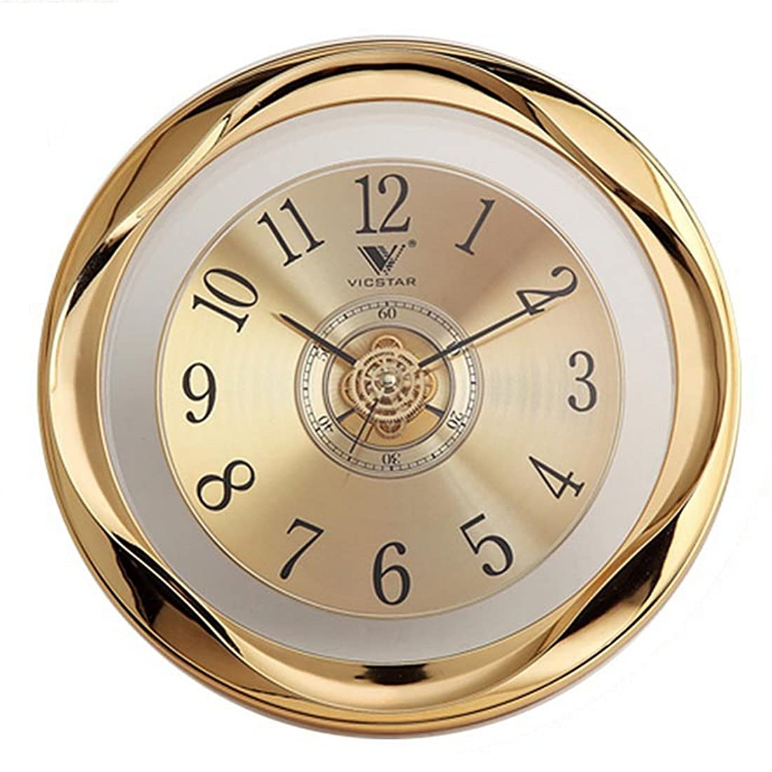 振り子フリース宝石Lingxuinfo 壁掛け時計 12インチ 円形 静音 壁時計 装飾的 カチカチカチ音 クォーツ 電池式 リビングルーム キッチン 寝室用 ゴールド