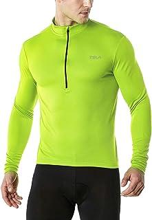 TSLA Men's Long & Short Sleeve Bike Cycling Jersey, Quick Dry Breathable Reflective Biking Shirts with 3 Rear Pockets