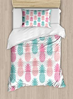Printawe Exotic Duvet Cover Set, Retro Style Colorful Tropical Pineapple Pattern Hawaiian Fruits Ornate Illustration, Decorative 2 Piece Bedding Set with 1 Pillow Sham, Twin Size, Almond Green