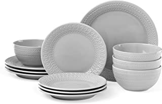 Kate Spade New York 889116 Willow Drive Grey 12 Piece dinnerware Set