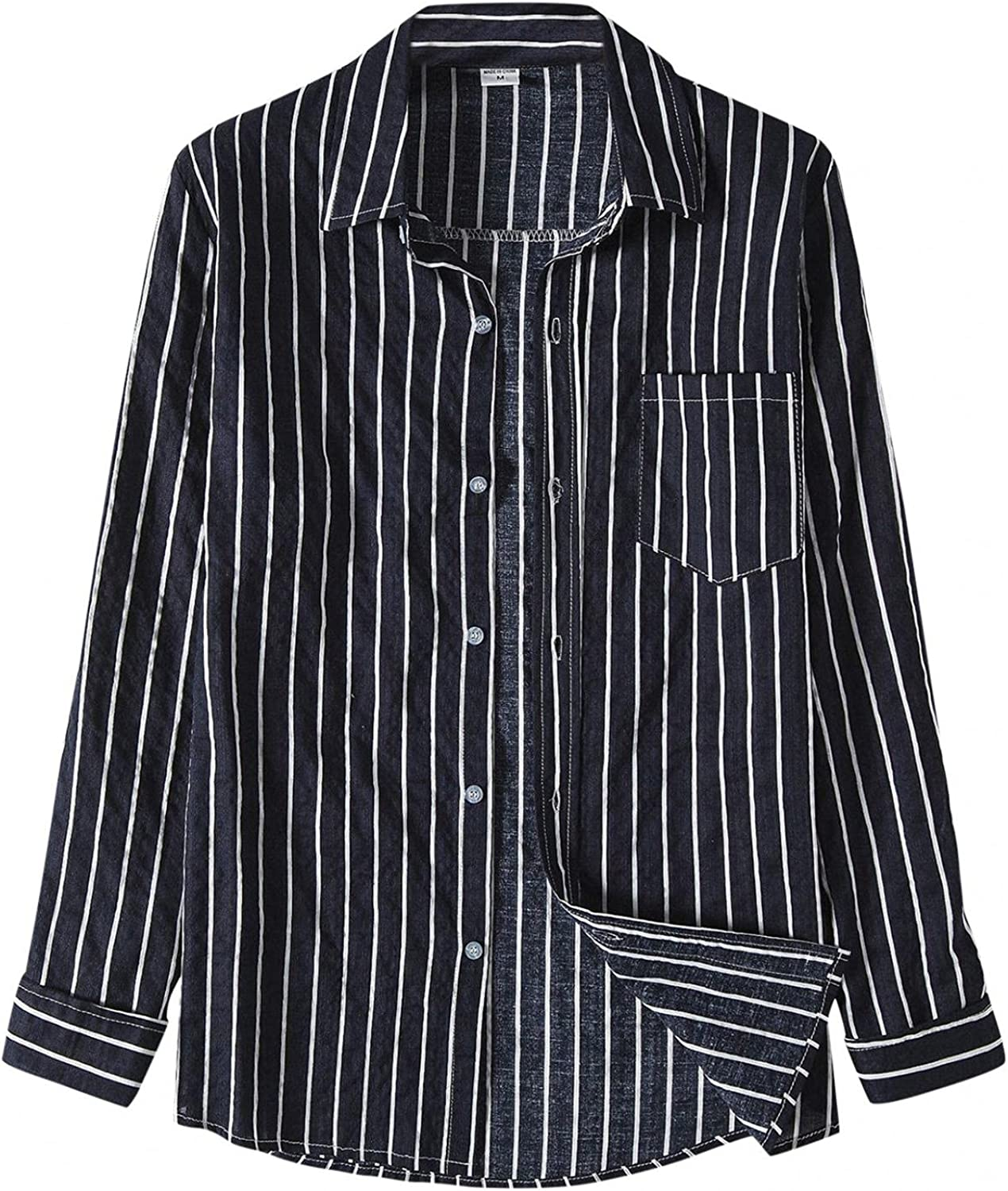 Aayomet Shirts for Men Striped Casual Long Sleeve Button Down T-Shirt Plain Pocket Loose Beach Tee Shirts Tops