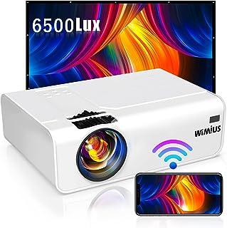 WiMiUS プロジェクター 6500lm 小型 WiFi ホームプロジェクター 1920×1080P最大解像度 HIFIスピーカー ズーム機能 USB/HDMI/AV/VGA対応 スマホ/パソコン/タブレット/ゲーム機/DVDなど接続可能