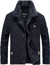 Zicac Men's Winter Casual Warm Fleece Jacket Coat Men Button Down Fur Lined Outwear with Fur Collar