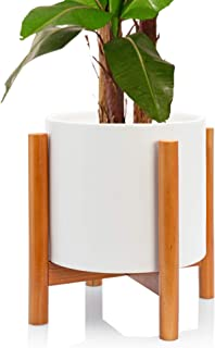 Kimisty Mid Century Modern Ceramic Planter with Stand Indoor, 10 Inch Large White Plant Pot with Bamboo Wood Stand, Extra Large Tall Floor Tree Planter, with Drainage and a Plug