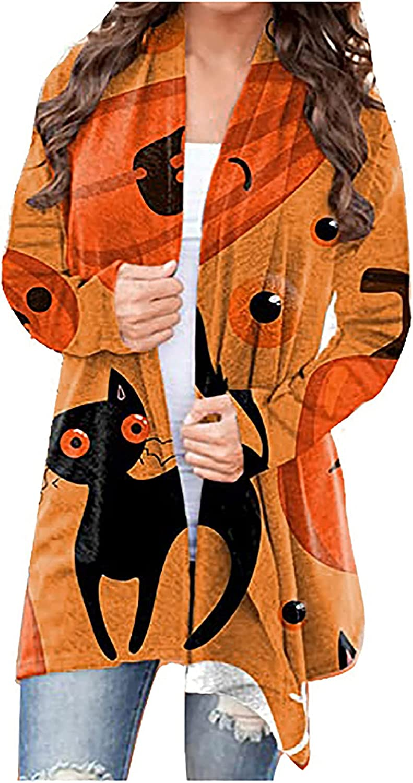 felwors Womens Cardigan, Womens Halloween Open Front Long Sleeve Funny Cute Pumpkin Cat Ghost Tops Lightweight Coat