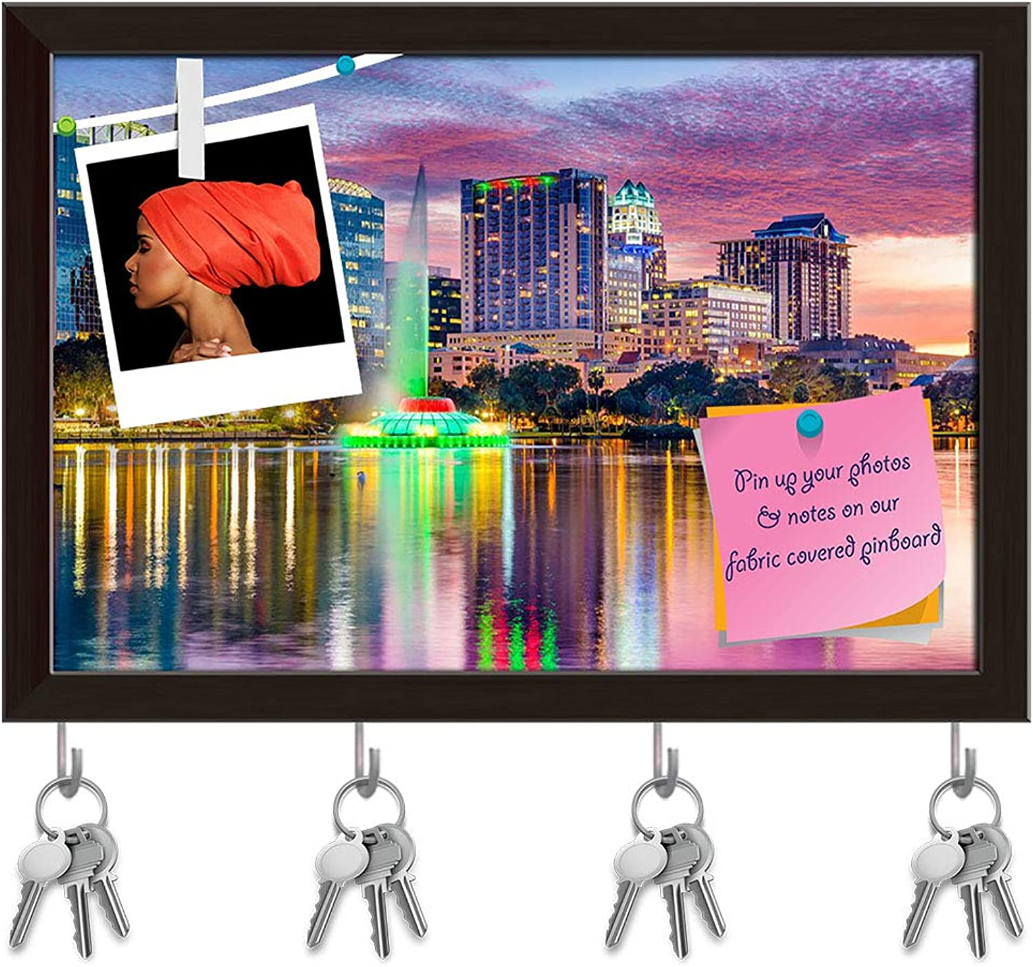 Artzfolio Orlando, Florida, USA Skyline at Dusk On EOLA Lake Key Holder Hooks   Notice Pin Board   Dark Brown Frame 17.5 X 12Inch