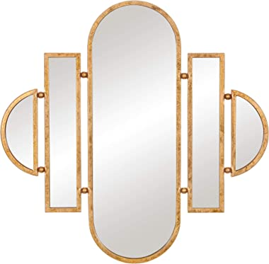 Patton Wall Decor 30x31 Antique Gold Geometric Oval Vanity Wall Mounted Mirrors