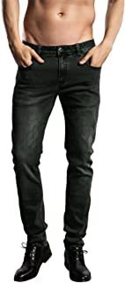 ZLZ Slim Fit Jeans, Men's Younger-Looking Fashionable Colorful Comfy Stretch Skinny Fit Denim Jeans