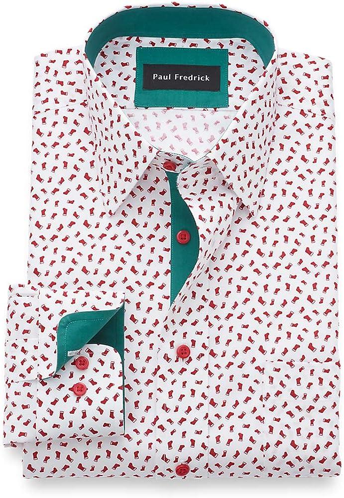 Paul Fredrick Men's Classic Fit Non-Iron Cotton Stocking Print Dress Shirt