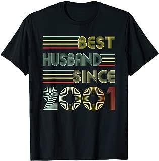 Mens 18th Wedding Anniversary Gifts Husband Since 2001 T Shirt