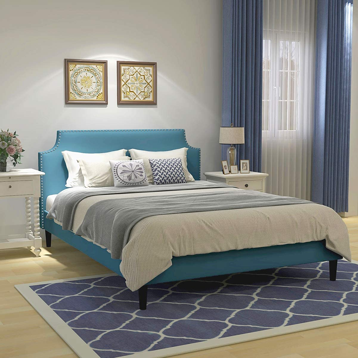 Upholstered High quality Button Tufted Platform Bed with Headboard Woo Same day shipping Strong