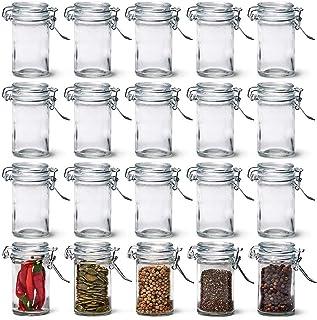 Annfly Lot de 20 petits bocaux en verre transparent pour cuisine, épices, herbes, salle de bain, fête (70 ml)