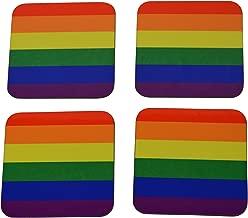 LGBT Rainbow Flag Drink Coaster Set Gift Home Kitchen Bar Barware Gay Pride