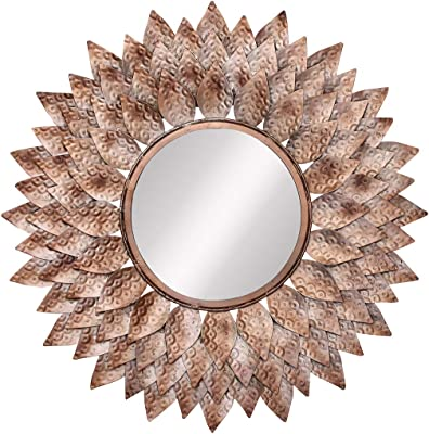 Chronikle Brown & Copper Handicrafts Antique Looking Flower Desing Decorative Metal Wall Mounted Wall Mirror ( 27.55 x 27.55 INCH )