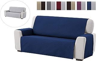 comprar comparacion Textilhome - Funda Cubre Sofá Adele, 3 Plazas, Protector para Sofás Acolchado Reversible. Color Azul