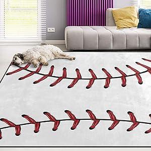Naanle Sport Baseball Lace Non Slip Area Rug for Living Dinning Room Bedroom Kitchen, 3' x 5'(39 x 60 Inches), Sport Nursery Rug Floor Carpet Yoga Mat