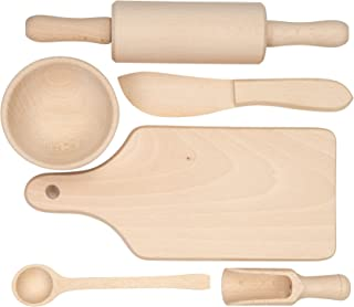 Mini Ustensiles de cuisine en bois, planche à découper, rouleau à pâtisserie, bol, cuillère, couteau de cuisine, cuillère ...