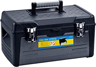 MEIJIA Portable Stainless Steel Tool Storage Box, Organizers With Mental Latches And Detachable Tray (Elegant Black) (Medium)