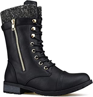 Premier Standard - Round Toe Military Lace Up Knitted Ankle Cuff Low Heel Combat Boots