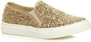 Ajvani Women's Glitter Plimsolls Sneakers Tennis Shoes Size