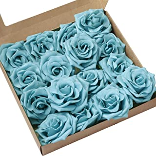 Ling's moment Rose Artificial Flowers 16pcs Realistic Turquoise Avalanche Roses with Stem for DIY Wedding Bouquets Centerpieces Floral Arrangements Decorations