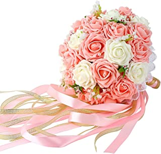 Febou Wedding Bridal Bouquet, Wedding Bride Bouquet, Wedding Holding Bouquet with Artificial Roses Lace Pearl Ribbon, Perfect for Wedding, Church, Party and Home Decor(Long Ribbon, White+Pink)