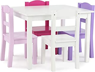Humble Crew Kids Wood Table & 4 Chair Set Primary, White/Purple/Pink