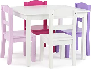Tot Tutors Friends Collection Kids Wood Table & 4 Chair Set, White/Pink & Purple