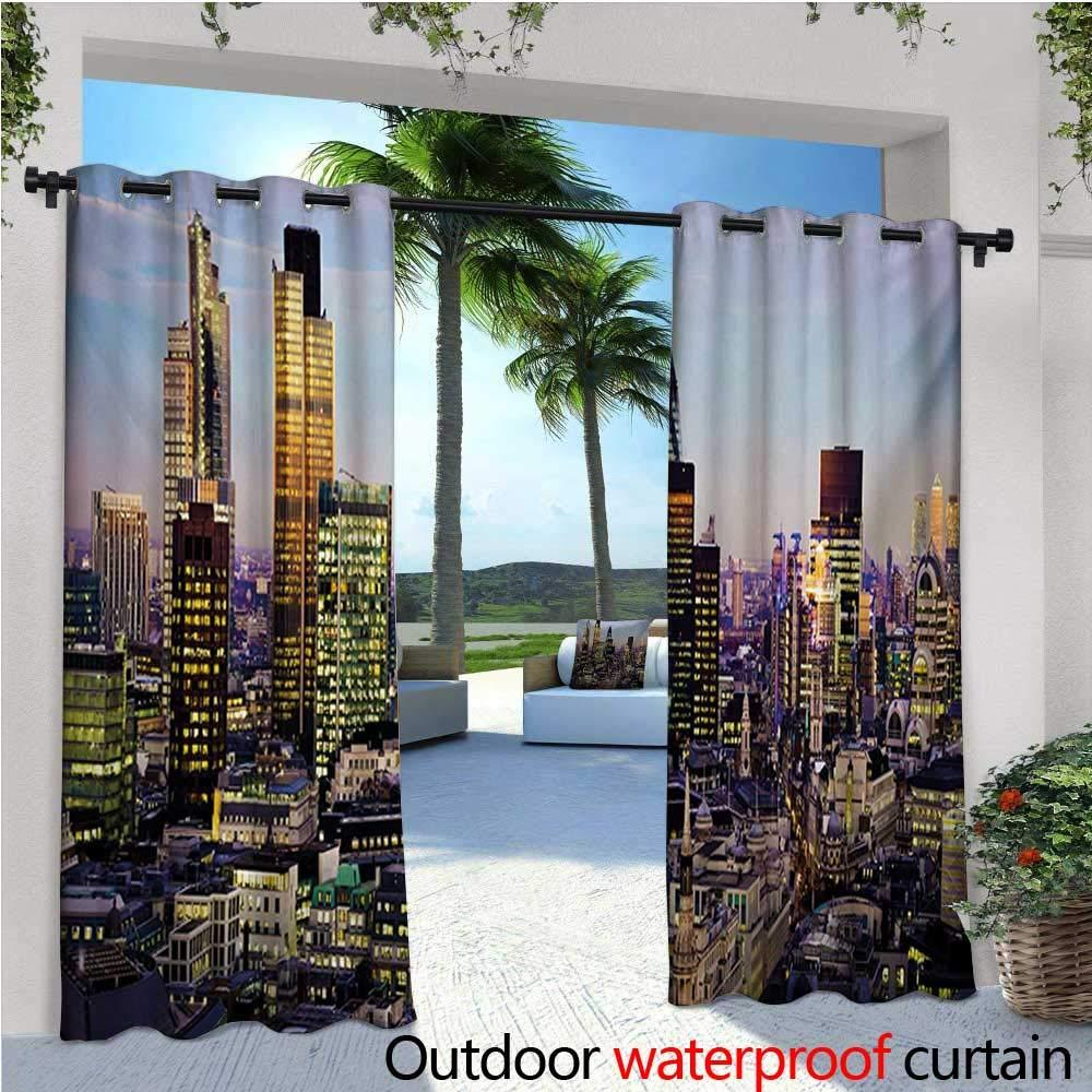 Homehot City Cortinas de patio Futuristic Cityscape en el mundo lejano inspirado en la cifi, planetas de diseño en cielo al aire libre cortina para patio, patio al aire libre cortinas naranja