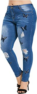 SCOFEEL Women's Butterfly Embroidered Stretch Distressed Skinny Jeans Plus Size