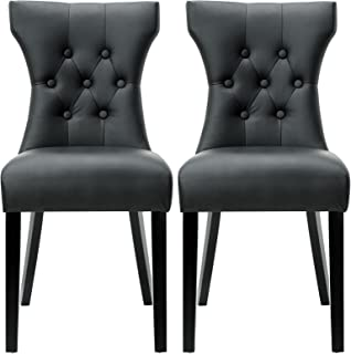 Modway Silhouette Modern Tufted Faux Leather Upholstered Parsons Two Kitchen and Dining Room Chairs in Black