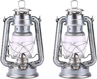 ヴィンテージ灯油ランタンランプ ウィックオイルランプ家の装飾やアウトドアキャンプ用の灯油ディーゼルを燃料とする野生の非常灯, Pack of 2 Pieces