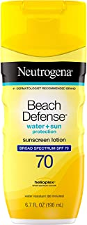 Neutrogena Beach Defense Water Resistant Sunscreen Body Lotion with Broad Spectrum SPF 70, Oil-Free and Fast-Absorbing, 6.7 oz (Packaging May Vary)