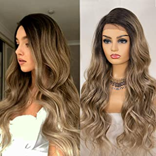 K'ryssma Ash Blonde Lace Front Wig Ombre Side Deep Parting Long Wavy Ombre Synthetic Wigs 22 inches 130% Density Heat Resi...