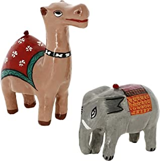 Handcrafted Paper Mache Camel and Elephant Ornaments - Hanging Figurines for Christmas Decorations - Set of 2