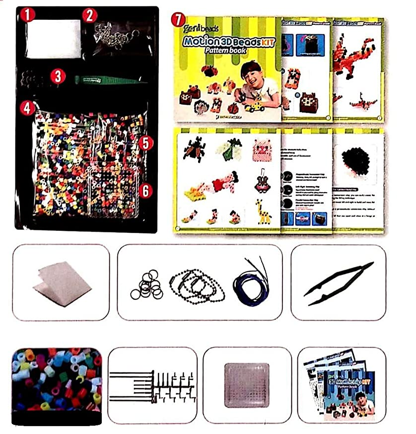 Motion 3D Beads Kit - Works with Perler Beads - Includes 3000+ 5mm Mixed Color Fuse Beads, Ironing Paper, Supplementary Materials, Tweezers, Multi-chip, Pegboards, Pattern Book - Made in Korea