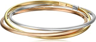 14k Gold-Bonded Sterling Silver Tri-Color Interlocking Bangle Bracelets, 8