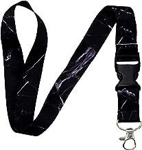 Lanyard-Lanyards for Women/Men-ID Lanyard-Key Lanyard-University Lanyard -Premium Soft Silky Wide Strapped Beautifully Printed Lanyard with Safe Removable Buckle & Spring Clip (Black Marble)