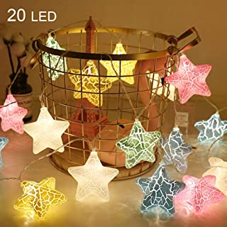 Twinkle Star 20 LED 9.4 FT Star String Lights Battery Operated, 3D Fairy String Lights Christmas Tree Wedding Party Indoor Decoration