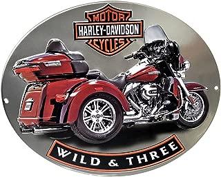 HARLEY-DAVIDSON Wild & Three Motorcycle Embossed Tin Sign, 15.75 x 13 in 2011341