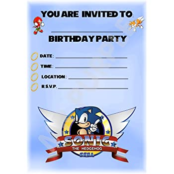 Sonic The Hedgehog Birthday Party Invites Landscape Frame Design Party Supplies Accessories Pack Of 12 A5 Invitations Without Envelopes Amazon Co Uk Office Products