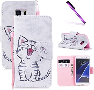 Galaxy S7 Case,S7 Case,LEECOCO Fancy Print Floral Wallet Case with Card / Cash Slots [Kickstand] PU Leather Folio Flip Protective Case Cover for Samsung Galaxy S7 Smile Cat
