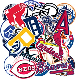 MLB Major League Baseball Prismatic Stickers Set of 30 Teams Computer Car Skateboard Motorcycle Bicycle Luggage Guitar Bike Decal (Baseball Team Logo)