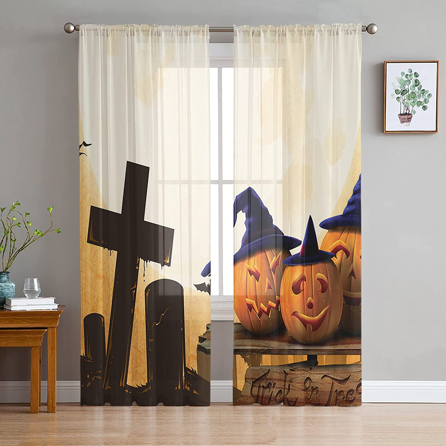 Semi Sheer Voile Cheap mail order shopping Window Curtains Large special price !! 2 Ele Inches Panels 52x63 Long