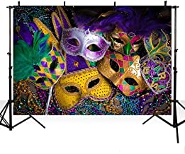 MEHOFOTO Mardi Gras Colorful Prom Photo Studio Booth Background Props Halloween Mask Dance Party Decoration Backdrops Banner for Photography Poster 7x5ft