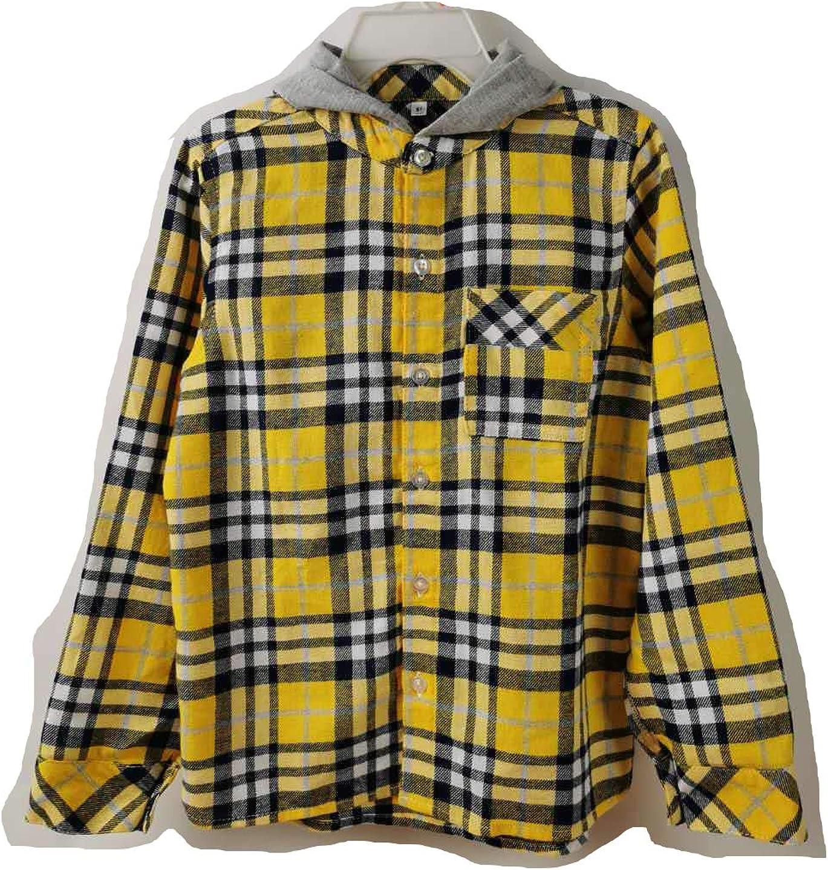 zi Boy's/Girl's Checked Flanel Shirt with Hood